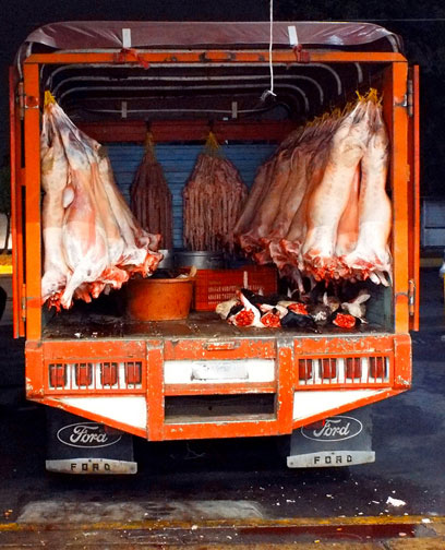 Butcher truck, part of a rastro in Mexico City