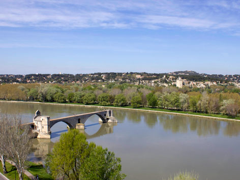 View of Avignon's bridge and Villeneuve-les-Avignon, in France