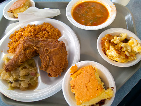 Lowcountry soul food, including fried chicken and okra soup, from Bertha's in Charleston, SC