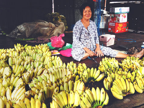Banana vendor in Cambodia
