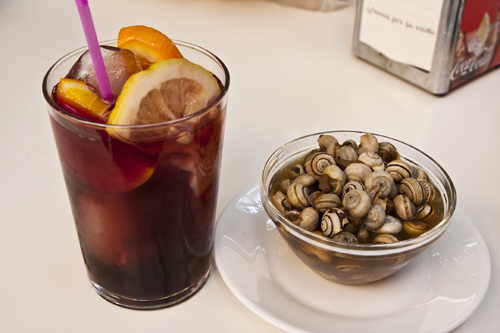 Sangria and snails, from a cafe in Sevilla, Spain
