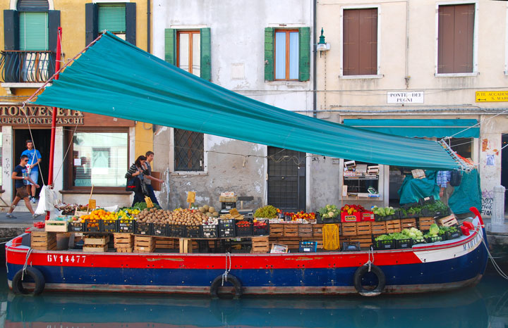 Boat filled with produce in Venice, Italy
