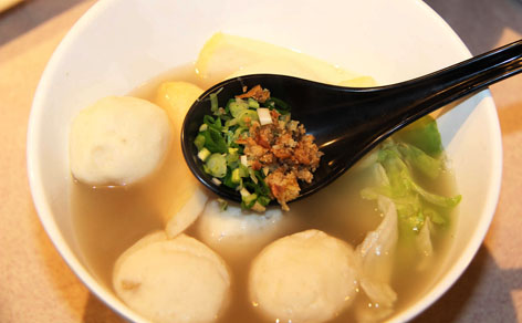 Fish ball noodle soup, a favorite dish in Hong Kong