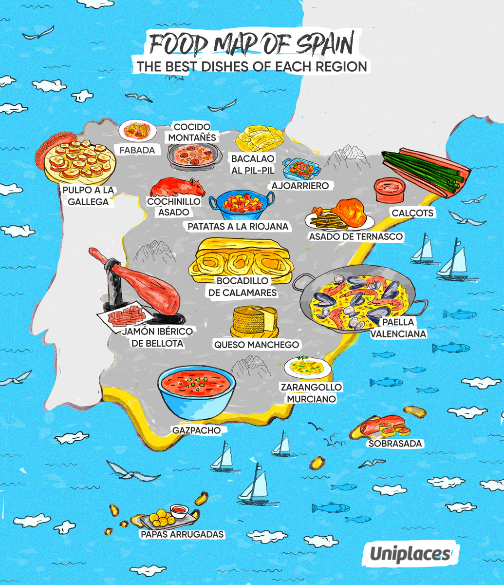 Regional food map infographic of Spain