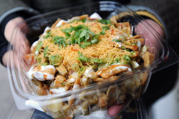 Papri chaat in Jackson Heights, Queens, NYC