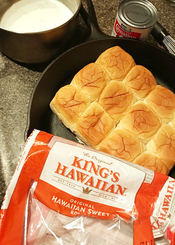 King's Hawaiian sweet rolls about to be turned into pani popo.