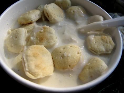 Clam chowder with oyster crackers from Larsens on Martha's Vineyard, MA