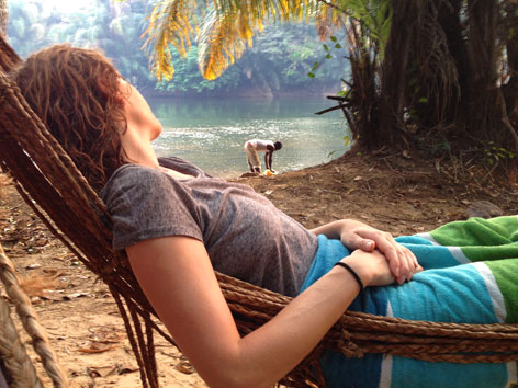 Hammock overlooking the Moa River on Tiwai Island, Sierra Leone