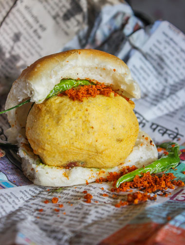 Vada pav, a typical Marathi dish with a fried potato ball in bread, as found in Mumbai