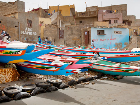 Pirogue boats on the beach in Ngor, Dakar, Senegal