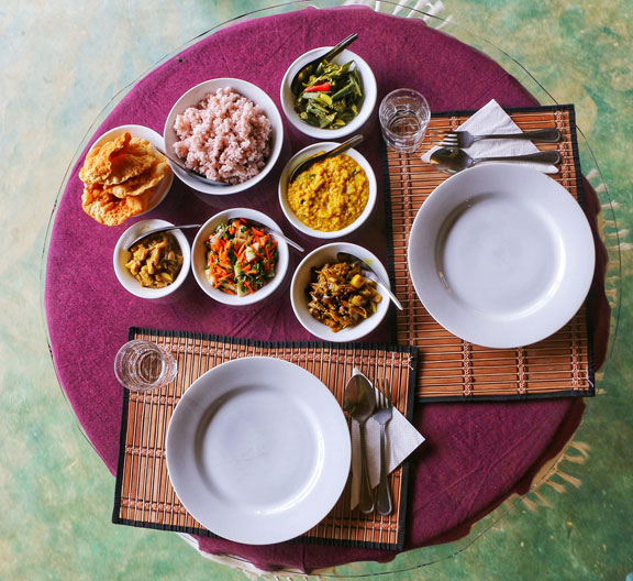 Rice and curry on a table in Sri Lanka.