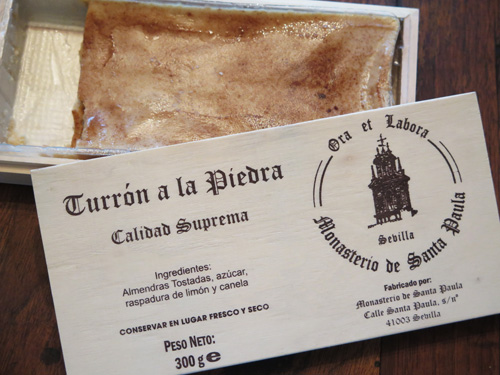 Turrón a la piedra sweets in a box from Santa Paula Convent in Sevilla, Spain