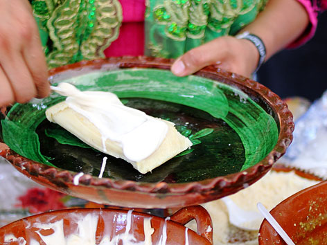 An uchepo tamale in Morelia, Michoacan, Mexico