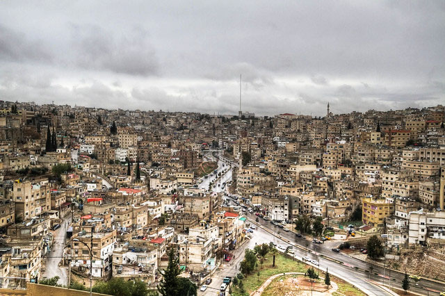 A view of the houses and streets of Amman, Jordan.