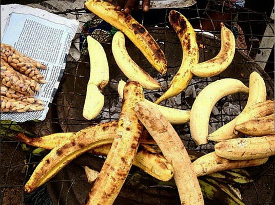 Boli, or roasted plantains, a street food in Lagos, Nigeria