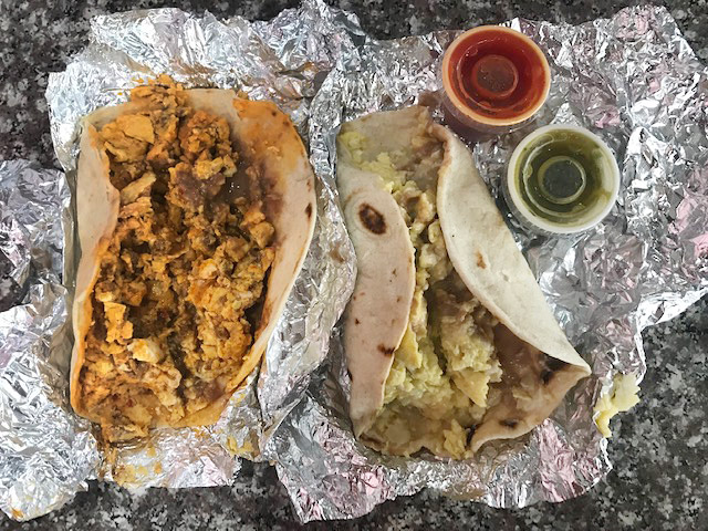 Two typical breakfast tacos in Houston