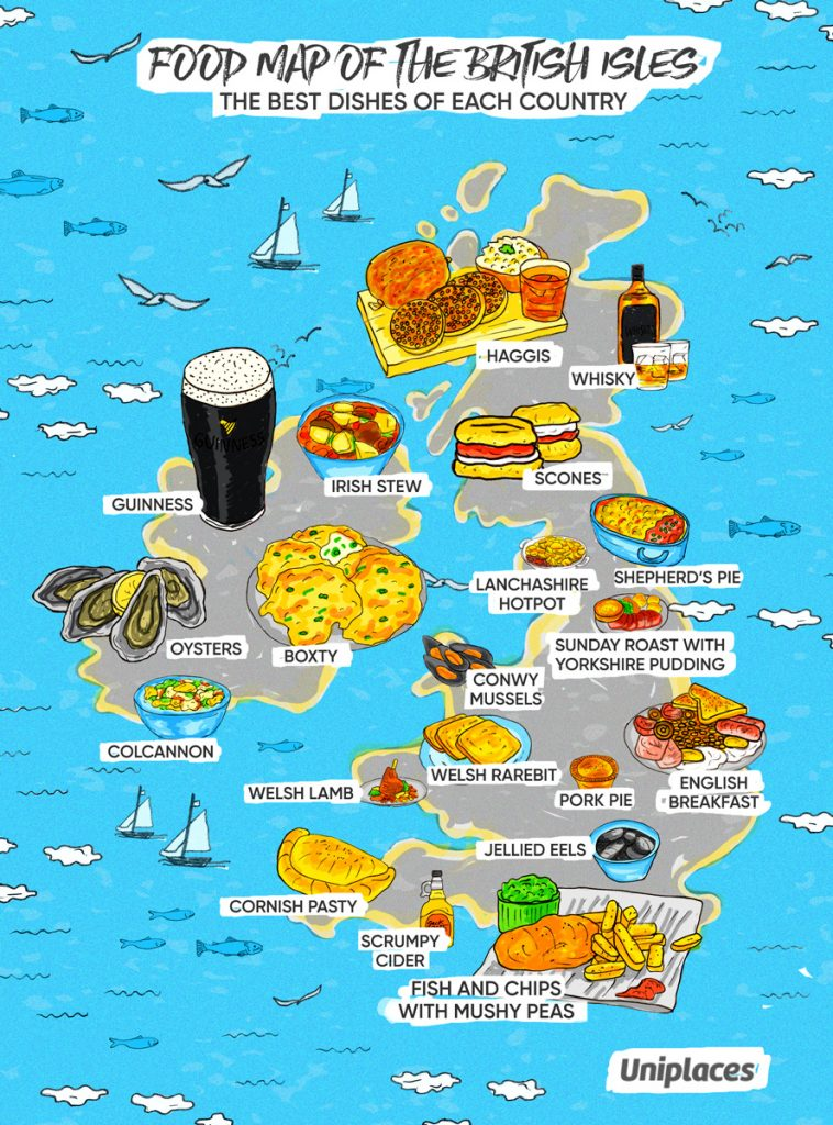 Regional food map infographic of British Isles