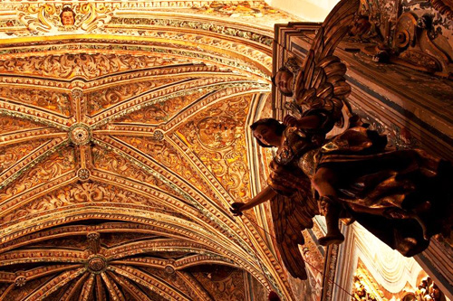 Gilded ceiling of the Santa Paula church in Sevilla, Spain
