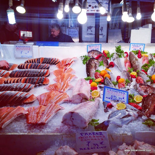 Fish counter at Central Market in Athens, Greece