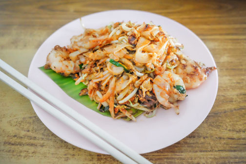 Char koay teow, a local Malaysian dish, from a stall in Penang, Malaysia.