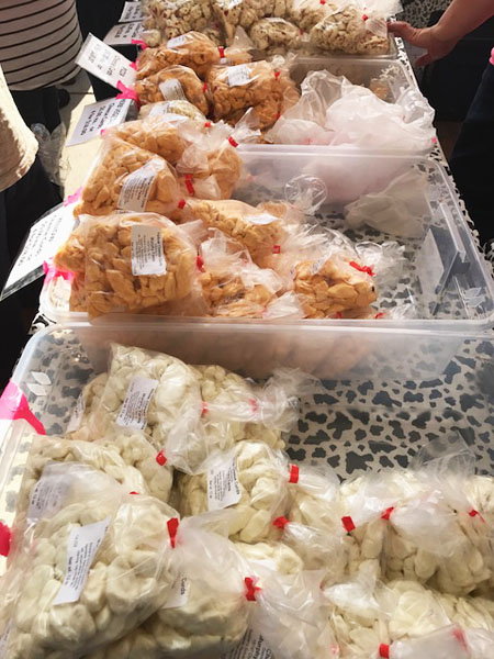 Fresh cheese curds on display at the Dane County Farmers Market in Madison, WI