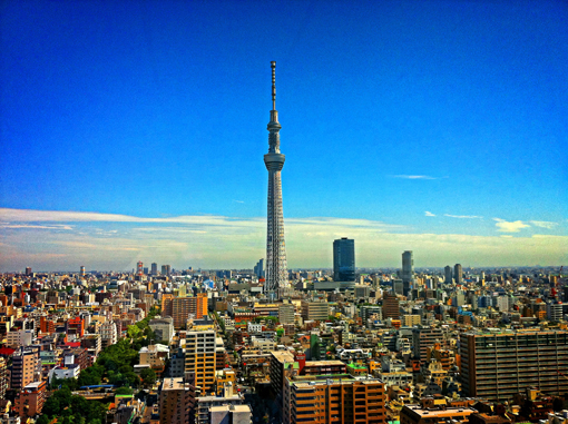 Morning in Tokyo, Japan, view of the skyline with Skytree