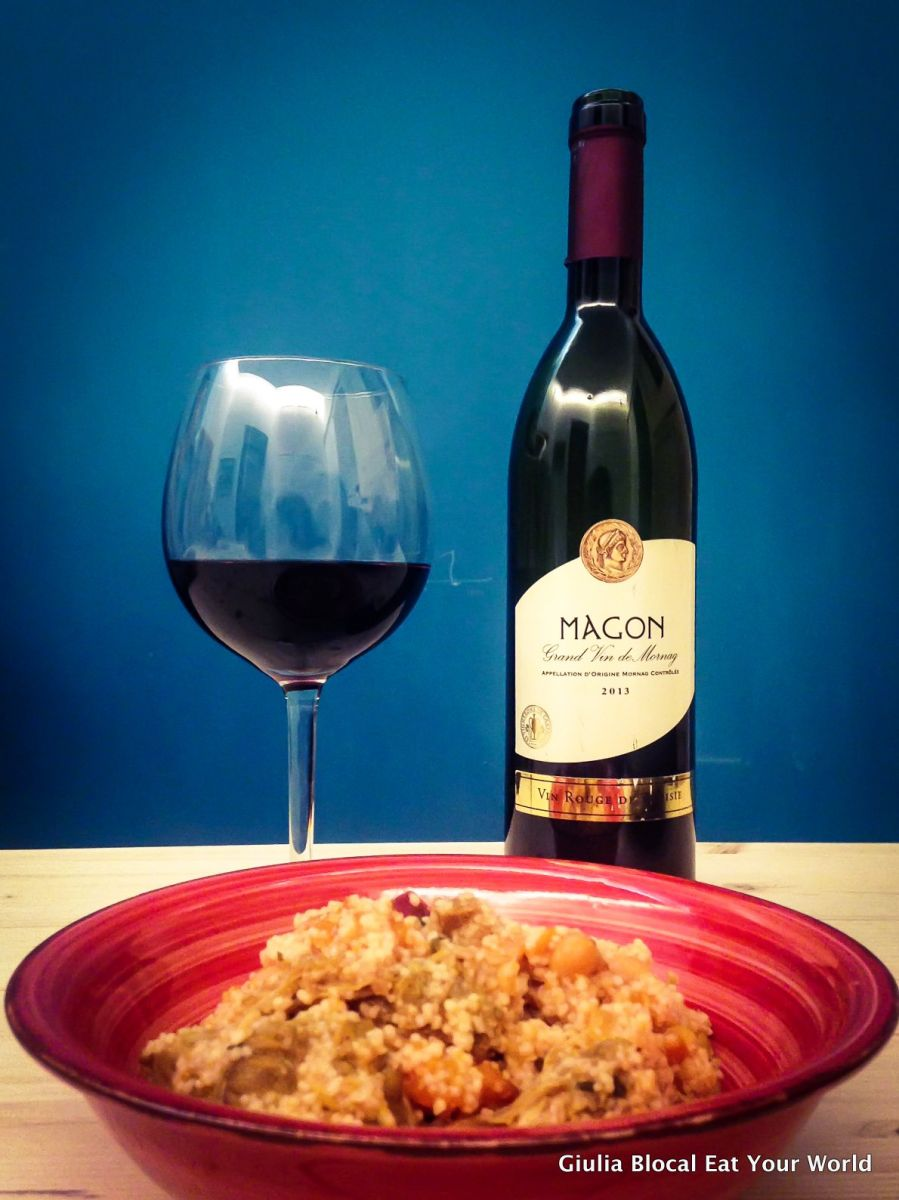 Couscous and wine from Tunisia.