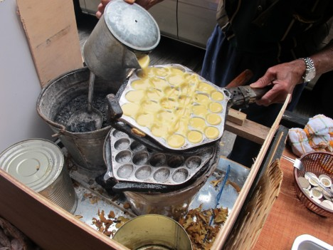 Gai daan zai, or little egg waffles, being made on the streets of Hong Kong