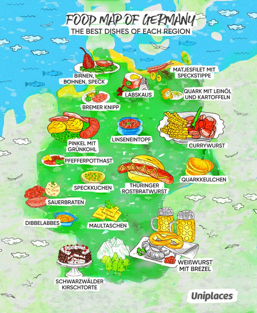 Regional food map infographic of Germany