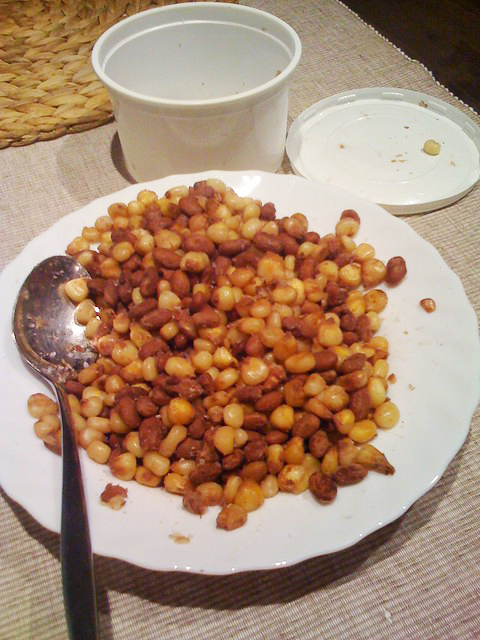 A plate of githeri, a typical Kenyan dish of corn and beans.