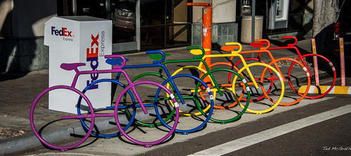 Rainbow-colored bike stalls in Hillcrest, San Diego
