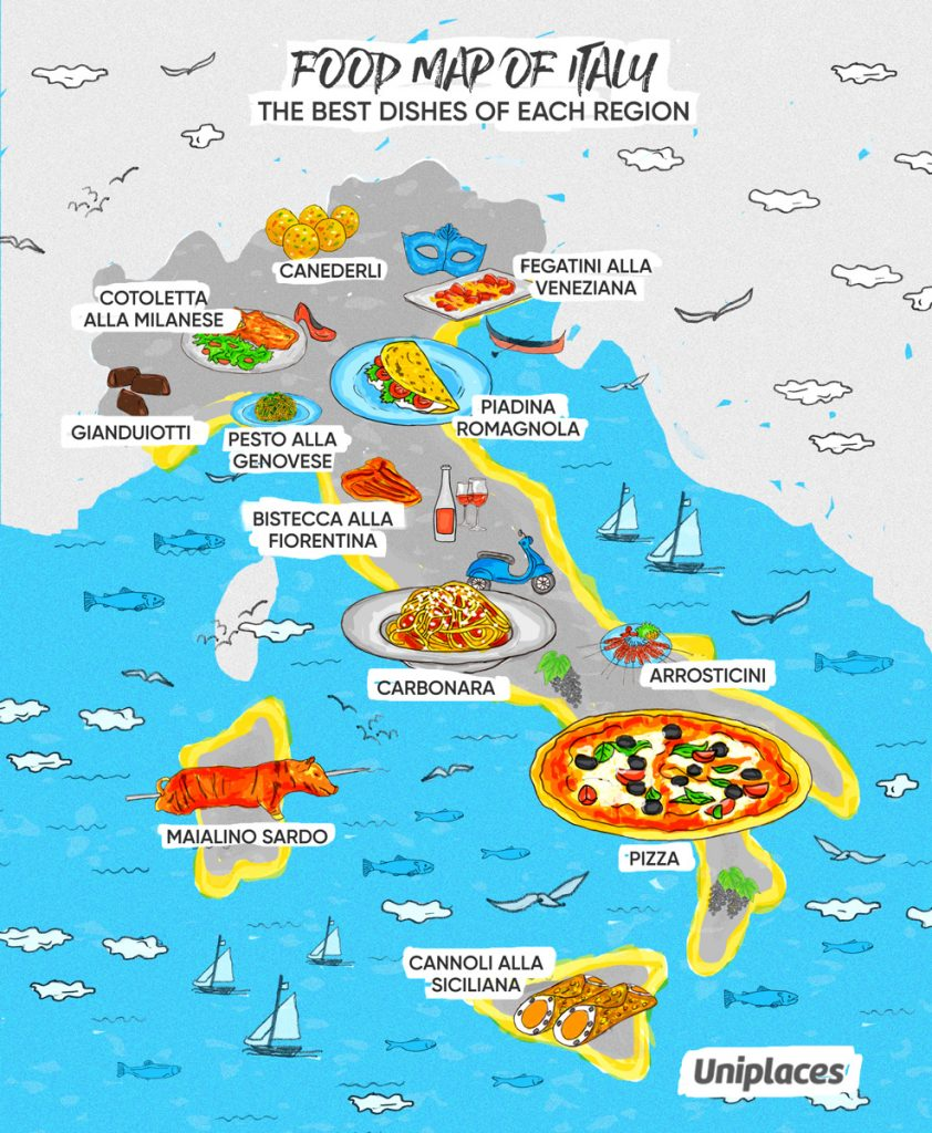 Regional food map infographic of Italy