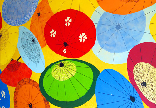 Japantown umbrella mural, in San Francisco