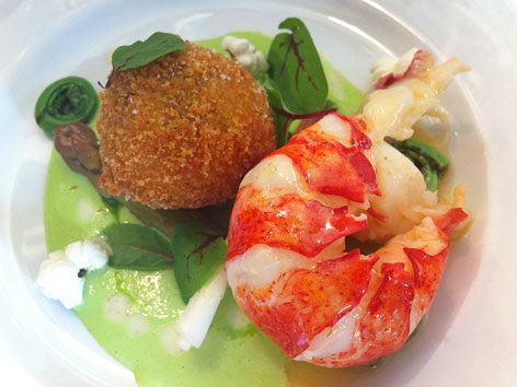 Arancini and lobster tail