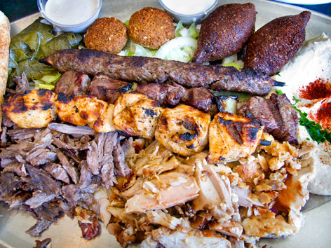 Middle Eastern platter from Dearborn, Michigan
