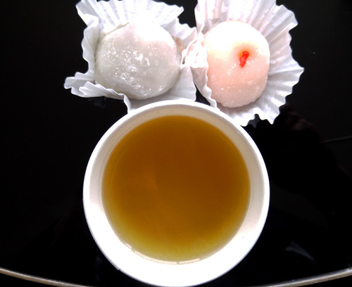 Mochi and tea in Japantown, San Francisco