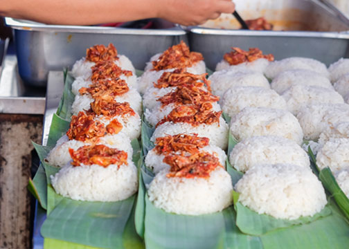 Small portions of nasi lemak from a stall in Penang, Malaysia