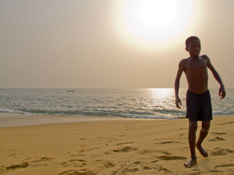 Village boy on John Obey beach, Sierra Leone