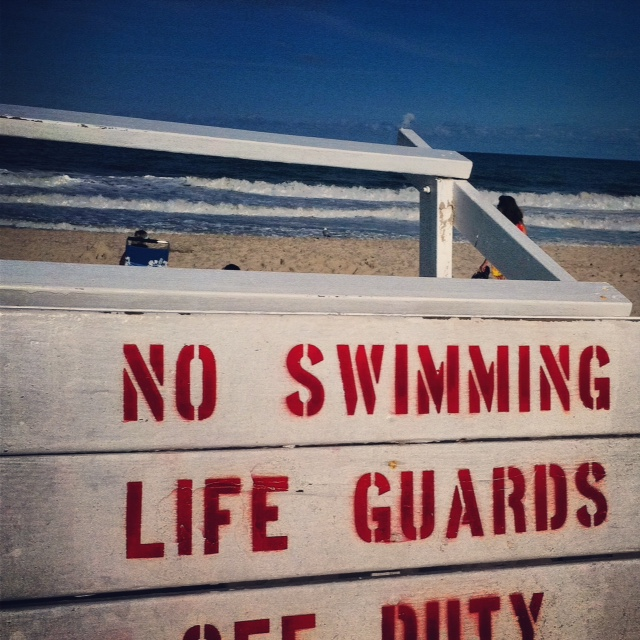 No Swimming sign on the Jersey shore.