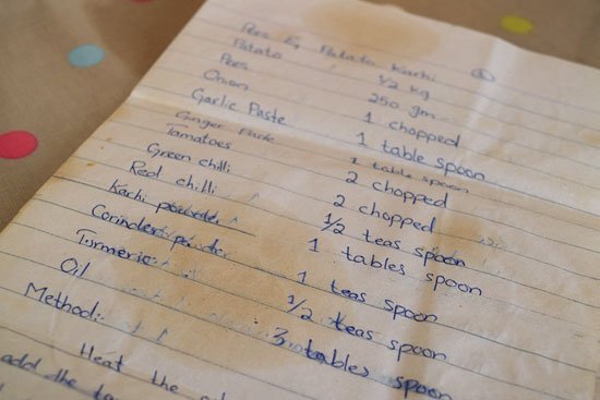 Handwritten recipe for a Pakistani veg curry