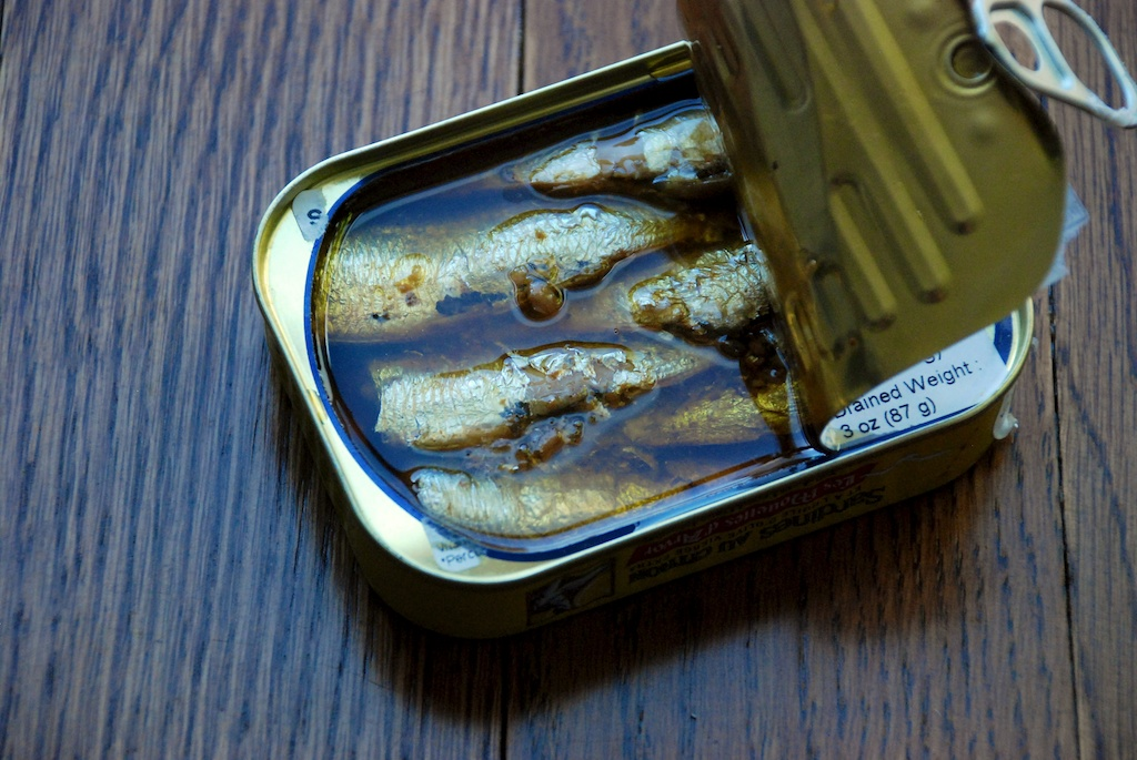 Can of sardines for sardine butter recipe, from the west coast of France