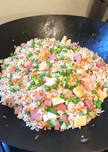 Spam fried rice in the wok