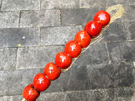 Tanghulu, sugared red hawthorn berries, on a stick from a street in Beijing.
