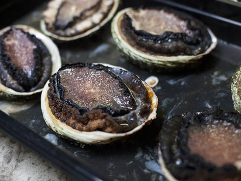 Wood-roasted Tasmanian abalone from Franklin restaurant in Hobart, Tasmania