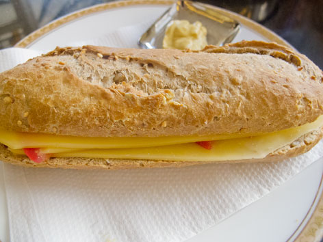 A broodje kaas (Dutch cheese sandwich) from a bakery in Amsterdam, The Netherlands