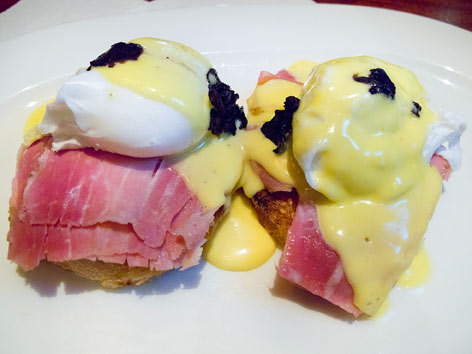 Eggs Benedict from Delmonico's Restaurant in New York City.