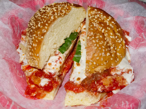 A chicken parm sandwich from Parm in Little Italy, New York City.