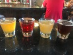 A tasting flight of local Utah beer at Strap Tank Brewery in the Utah Valley.