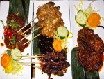 A few dishes from a traditional Indonesian rijsttafel in Amsterdam, the Netherlands.